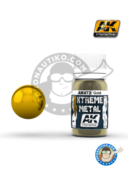 Gold | Xtreme metal paint manufactured by AK Interactive (ref. AK-472) image