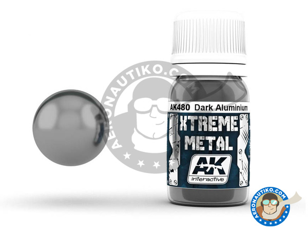 Image 1: Dark aluminium | Xtreme metal paint manufactured by AK Interactive (ref. AK-480)