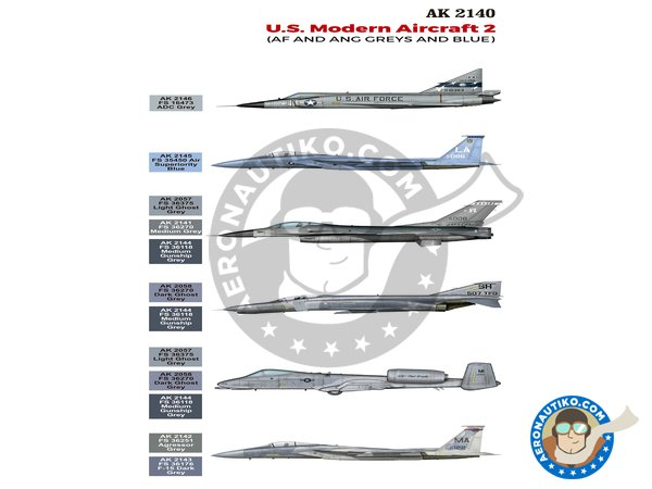 Image 1: Color set by U.S. MODERN AIRCRAFT 2 | Air Series Set manufactured by AK Interactive (ref. AK2140)