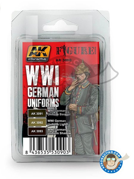 WWI German uniforms colors set | Acrylic paint manufactured by AK Interactive (ref. AK3090) image