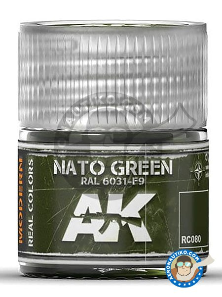 Color NATO Green RAL 6031-F9 | Acrylic paint manufactured by AK Interactive (ref. RC080) image