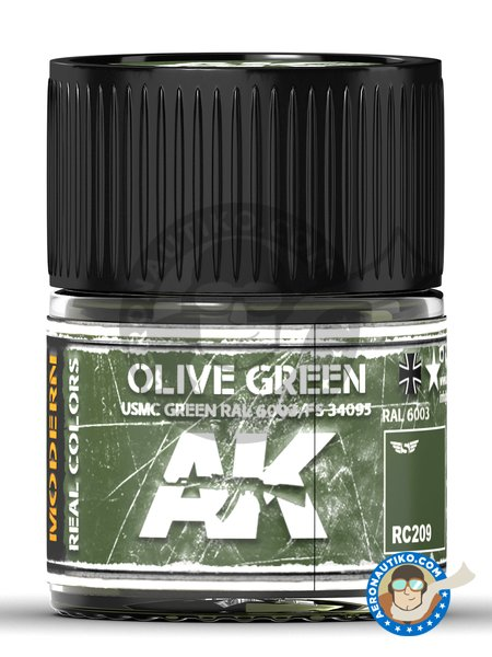 Olive green. RAL 6003 / FS 34095. USMC Green. 10ml | Real color manufactured by AK Interactive (ref. RC209) image