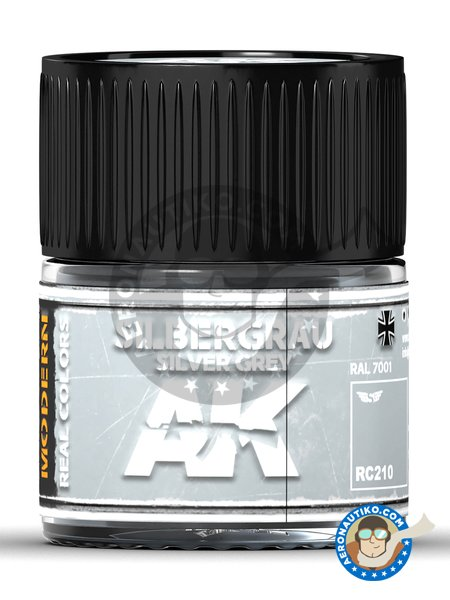 Silver grey. RAL 7001. Silbergrau. 10ml | Real color manufactured by AK Interactive (ref. RC210) image