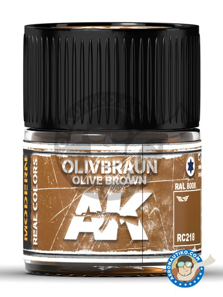 Olive brown. Olivbraun. 10ml | Real color manufactured by AK Interactive (ref. RC218) image