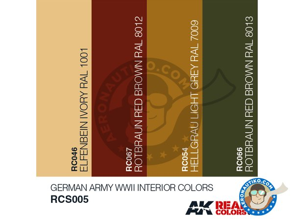 Image 1: German army WWII interior colors set | Real colors set manufactured by AK Interactive (ref. RCS005)