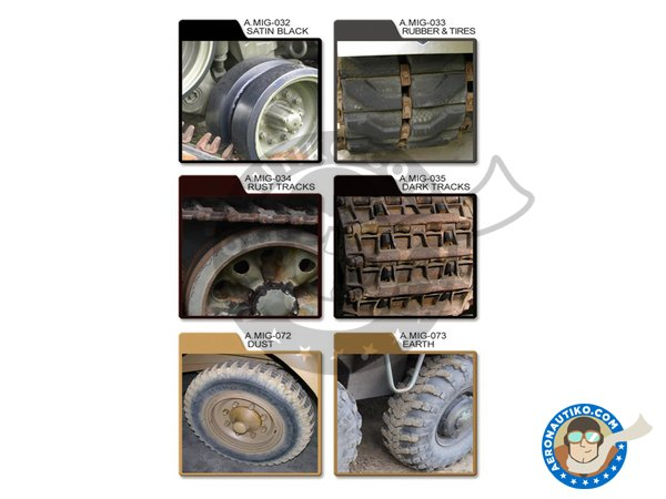 Image 1: Paint set of wheels, tired and tracks. | Paints set manufactured by AMMO of Mig Jimenez (ref. A.MIG-7105)