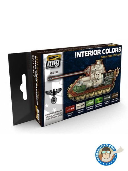 Paint set of interior colors german tanks | Paints set manufactured by AMMO of Mig Jimenez (ref. A.MIG-7108) image