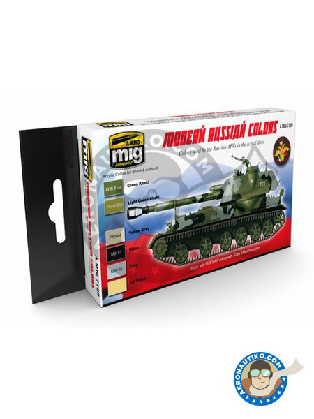 Paint set of Modern russian camo colors | Paints set manufactured by AMMO of Mig Jimenez (ref. A.MIG-7109) image