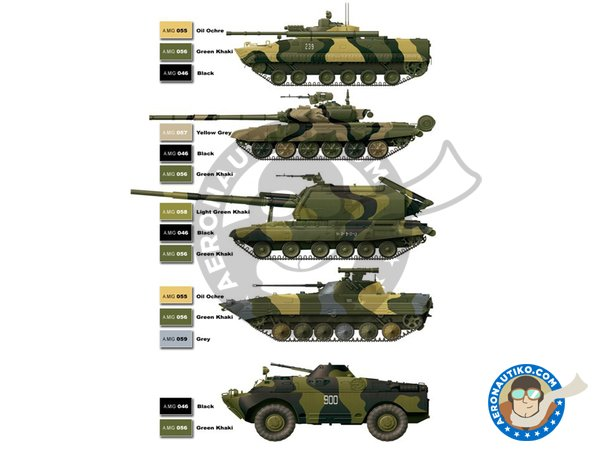 Image 1: Paint set of Modern russian camo colors | Paints set manufactured by AMMO of Mig Jimenez (ref. A.MIG-7109)