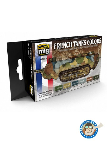 Paint set of WWI and WWII french camouflage colors. | Paints set manufactured by AMMO of Mig Jimenez (ref. A.MIG-7110) image