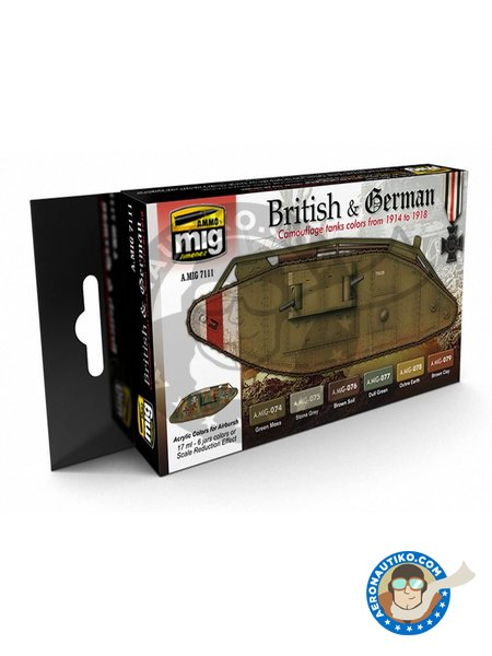Paint set of WWI british or german colors | Paints set manufactured by AMMO of Mig Jimenez (ref. A.MIG-7111) image