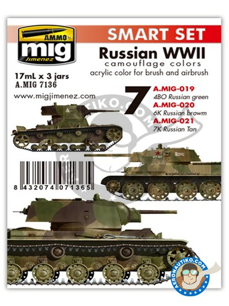 Colors set of AFV russian WWII | Smart Set | Paints set manufactured by AMMO of Mig Jimenez (ref. A.MIG-7136) image