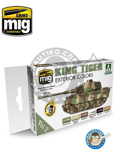 King Tiger exterior colors Vol.2 | Paints set manufactured by AMMO of Mig Jimenez (ref. A.MIG-7166) image