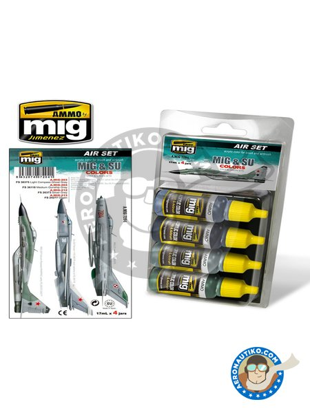 MiG & SU Colors Grey & Green Fighters | Acrylic paint manufactured by AMMO of Mig Jimenez (ref. A.MIG-7204) image