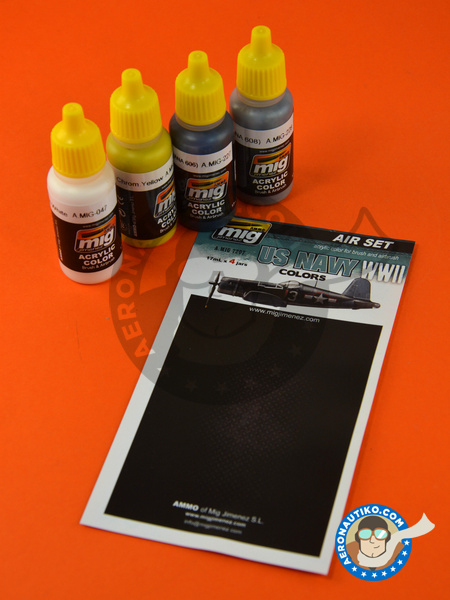 US Navy World War II colors - Air set | Paints set manufactured by AMMO of Mig Jimenez (ref. A.MIG-7207) image