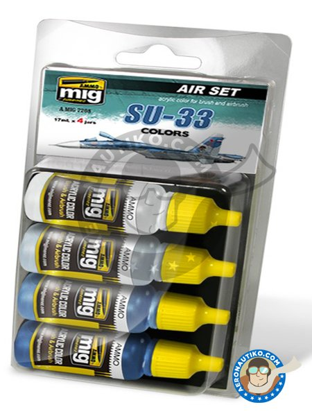 Colors set of Su-33 | Paints set manufactured by AMMO of Mig Jimenez (ref. A.MIG-7208) image