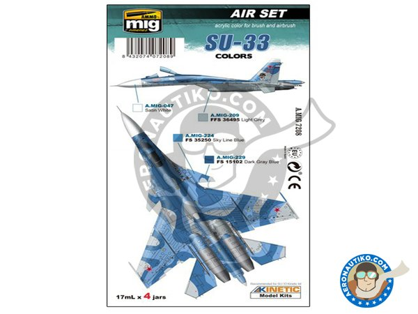 Image 1: Colors set of Su-33 | Paints set manufactured by AMMO of Mig Jimenez (ref. A.MIG-7208)