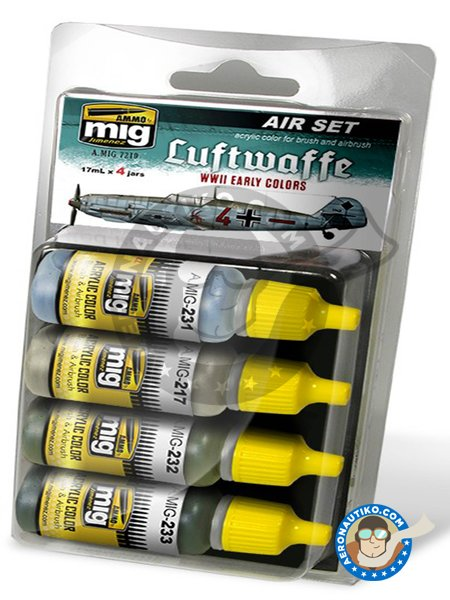 Colors set of Luftwaffe early WWII | Paints set manufactured by AMMO of Mig Jimenez (ref. A.MIG-7210) image