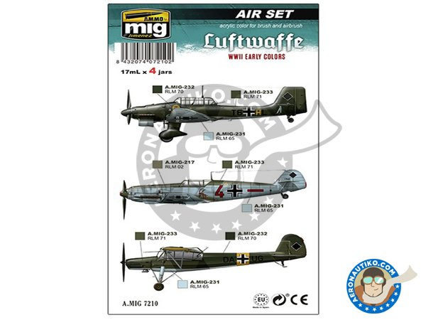 Image 1: Colors set of Luftwaffe early WWII | Paints set manufactured by AMMO of Mig Jimenez (ref. A.MIG-7210)
