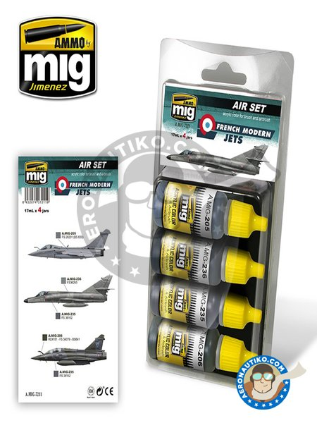 French Modern Jets. Color set | Air set | Acrylic paint manufactured by AMMO of Mig Jimenez (ref. A.MIG-7211) image