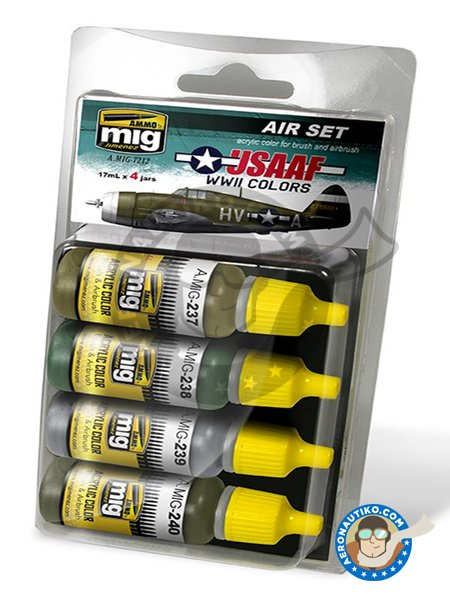 Colors set of USAAF WWII | Paints set manufactured by AMMO of Mig Jimenez (ref. A.MIG-7212) image