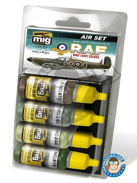 Set color of WWII RAF early colors | Paints set manufactured by AMMO of Mig Jimenez (ref. A.MIG-7215) image