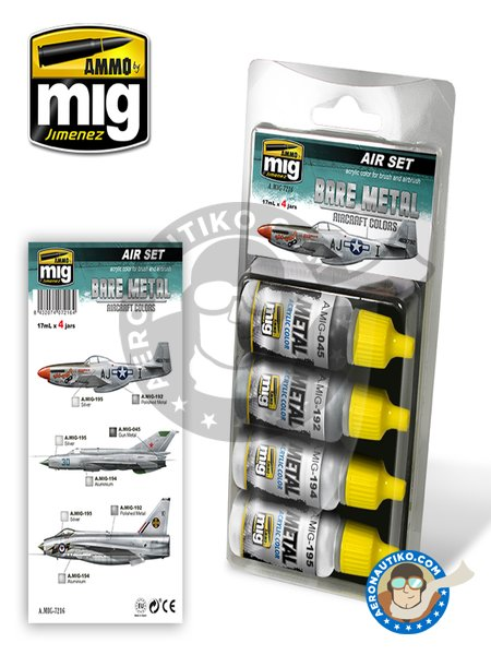 Bare Metal Aircraft Colors | Air set | Paints set manufactured by AMMO of Mig Jimenez (ref. A.MIG-7216) image