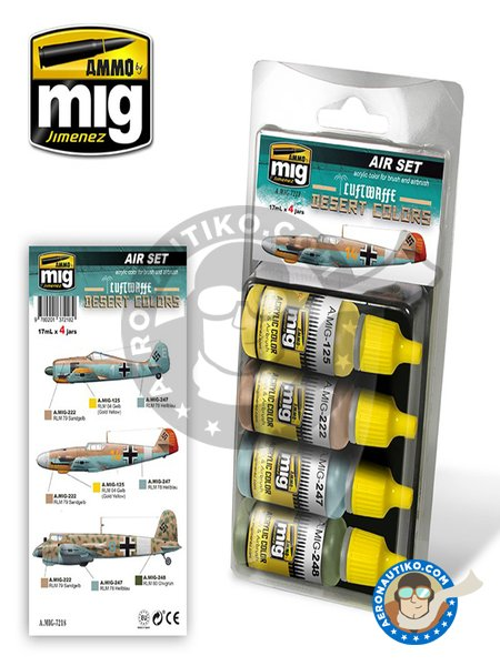 Luftwaffe Desert Colors set | Air Set | Paints set manufactured by AMMO of Mig Jimenez (ref. A.MIG-7218) image