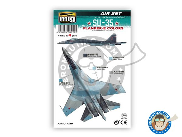 Image 1: Colors for Su-35 Flanker E | Paints set manufactured by AMMO of Mig Jimenez (ref. A.MIG-7219)