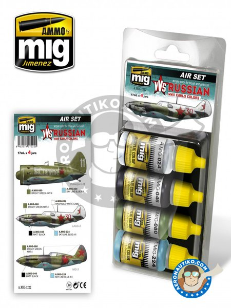 WWII Russian early colors set | Air set | Paints set manufactured by AMMO of Mig Jimenez (ref. A.MIG-7222) image