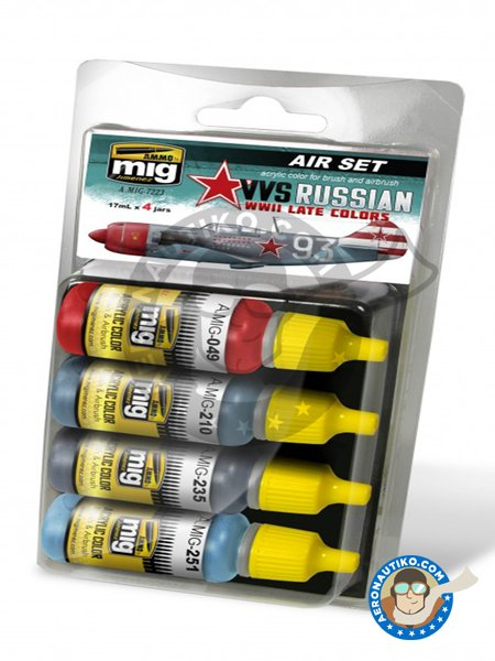VVS WWII soviet late aircraft colors | Paints set manufactured by AMMO of Mig Jimenez (ref. A.MIG-7223) image