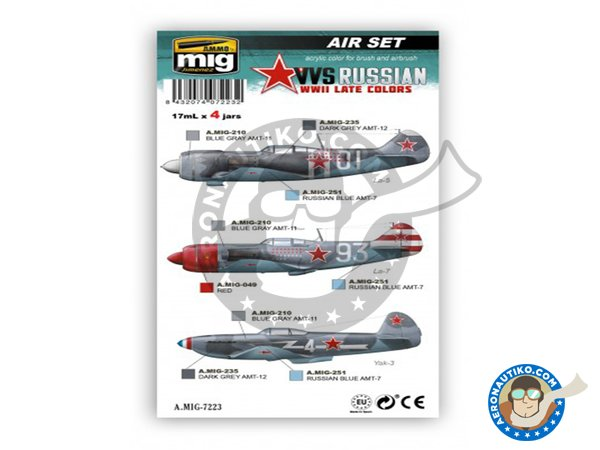 Image 1: VVS WWII soviet late aircraft colors | Paints set manufactured by AMMO of Mig Jimenez (ref. A.MIG-7223)