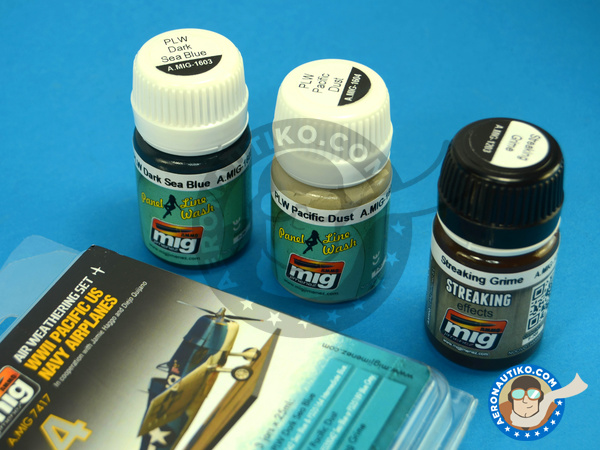 Image 1: Color set for Pacific US Navy Airplanes | Paints set manufactured by AMMO of Mig Jimenez (ref. A.MIG-7417)