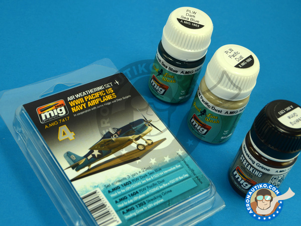 Image 2: Color set for Pacific US Navy Airplanes | Paints set manufactured by AMMO of Mig Jimenez (ref. A.MIG-7417)