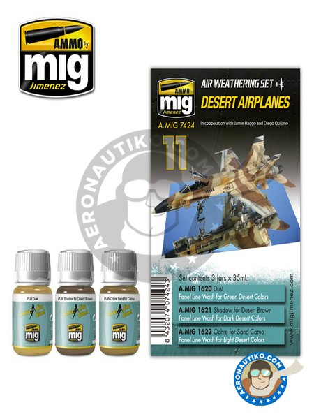 Colors set Desert Airplanes | Air Weathering Set | Paints set manufactured by AMMO of Mig Jimenez (ref. A.MIG-7424) image