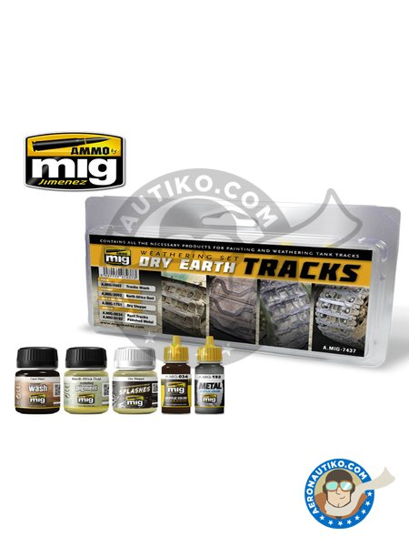 Paint set for dry earth tracks. | Paints set manufactured by AMMO of Mig Jimenez (ref. A.MIG-7437) image