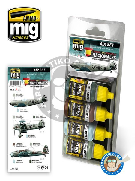 SPANISH CIVIL WAR - NATIONALISTS AIRCRAFTS SET | Paints set manufactured by AMMO of Mig Jimenez (ref. AMIG7226) image