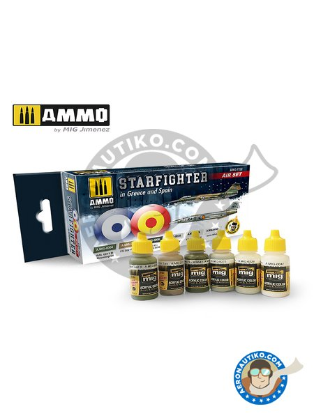 SET F-104G STARFIGHTER (GREECE AND SPAIN) | Paints set manufactured by AMMO of Mig Jimenez (ref. AMIG7232) image