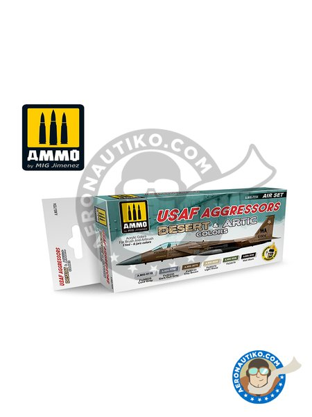 SET USAF AGRESSOR - DESERT AND ARTIC COLOURS | Paints set manufactured by AMMO of Mig Jimenez (ref. AMIG7234) image