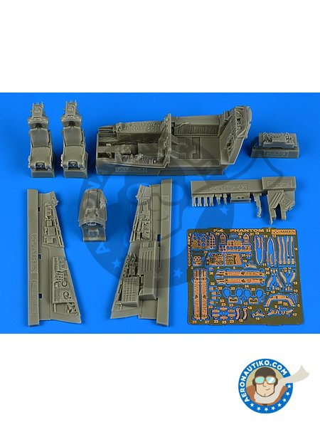 F-4S Phantom II cockpit set | Cockpit set in 1/48 scale manufactured by Aires (ref. AIRES-4767) image