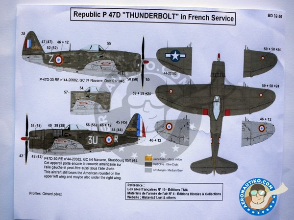 Image 3: Republic P-47D Bubbletop D | Marking / livery in 1/32 scale manufactured by Berna Decals (ref. BD32-36)