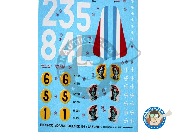 Image 2: Morane Saulnier 406 'La Furie' | Marking / livery in 1/48 scale manufactured by Berna Decals (ref. BD48-132)