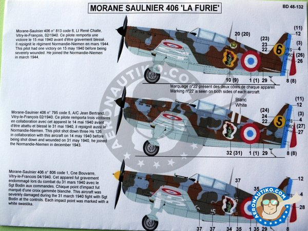 Image 3: Morane Saulnier 406 'La Furie' | Marking / livery in 1/48 scale manufactured by Berna Decals (ref. BD48-132)