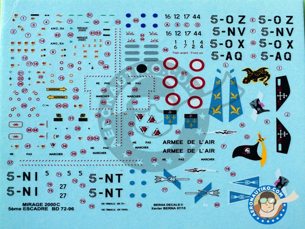 Image 1: Dassault Mirage 2000C | Marking / livery in 1/72 scale manufactured by Berna Decals (ref. BD72-96)