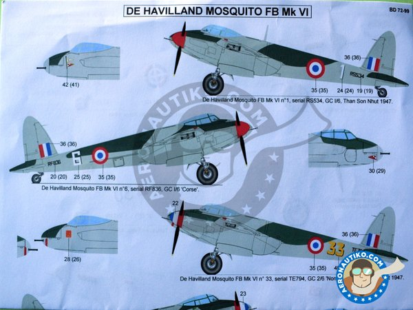 Image 3: De Havilland Mosquito FB Mk VI | Marking / livery in 1/72 scale manufactured by Berna Decals (ref. BD72-99)
