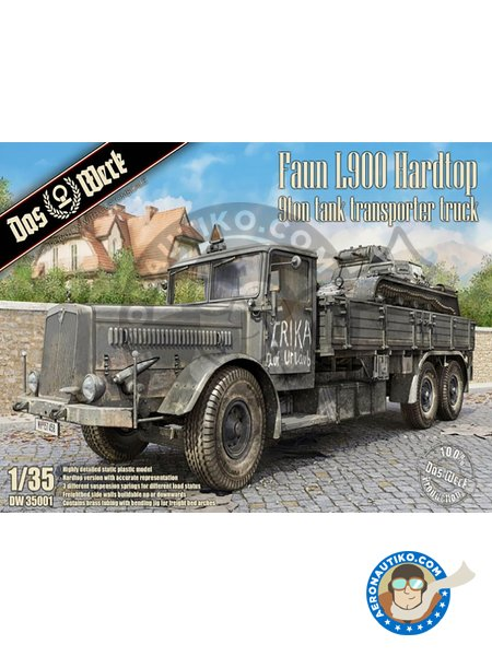 Faun L900 Hardtop 9ton Tank Transporter Truck | Military vehicle kit in 1/35 scale manufactured by DAS WERK (ref. DW35001) image