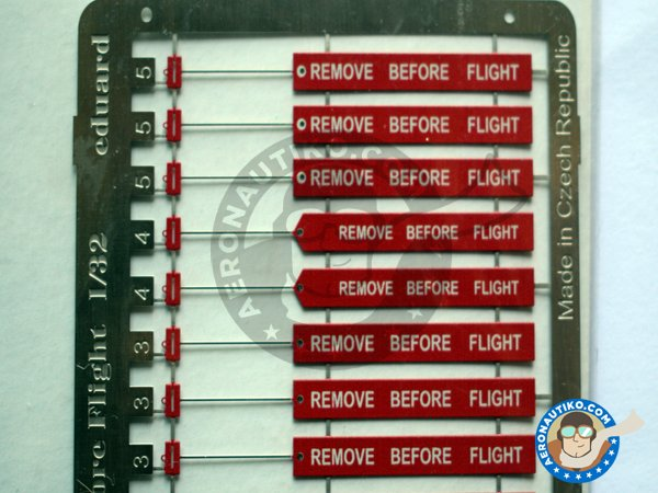Image 2: Remove Before Flight ribbon | Coloured photo-etched cockpit parts in 1/32 scale manufactured by Eduard (ref. 32501)