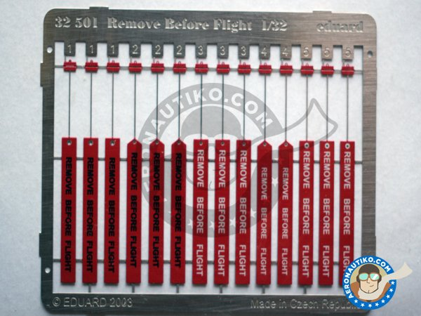 Image 3: Remove Before Flight ribbon | Coloured photo-etched cockpit parts in 1/32 scale manufactured by Eduard (ref. 32501)