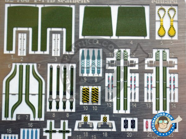 Image 3: Grumman F-14D seatbelts | Coloured photo-etched cockpit parts in 1/32 scale manufactured by Eduard (ref. 32706)