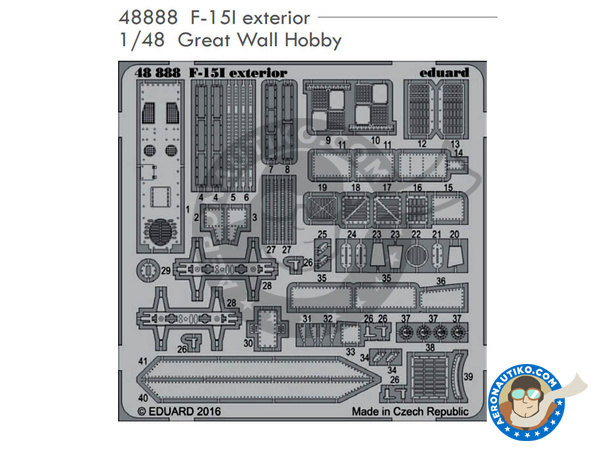 Image 1: McDonnell Douglas F-15 Eagle exterior I | Photo-etched parts in 1/48 scale manufactured by Eduard (ref. 48888)